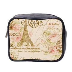 Floral Eiffel Tower Vintage French Paris Art Mini Travel Toiletry Bag (Two Sides)