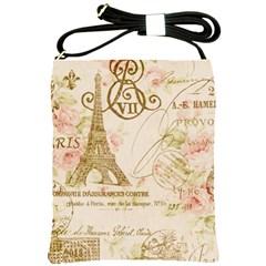 Floral Eiffel Tower Vintage French Paris Art Shoulder Sling Bag