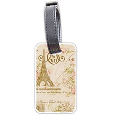 Floral Eiffel Tower Vintage French Paris Art Luggage Tag (Two Sides)