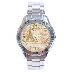 Floral Eiffel Tower Vintage French Paris Art Stainless Steel Watch (Men s)