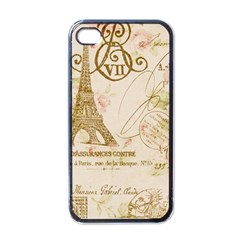 Floral Eiffel Tower Vintage French Paris Art Apple iPhone 4 Case (Black)