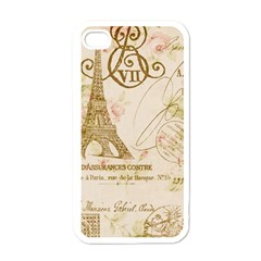 Floral Eiffel Tower Vintage French Paris Art Apple Iphone 4 Case (white)