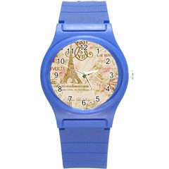 Floral Eiffel Tower Vintage French Paris Art Plastic Sport Watch (small)