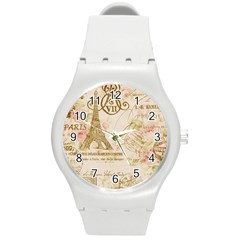 Floral Eiffel Tower Vintage French Paris Art Plastic Sport Watch (Medium)