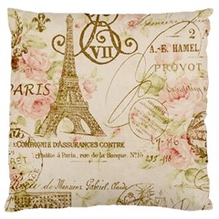 Floral Eiffel Tower Vintage French Paris Art Large Cushion Case (Two Sided)
