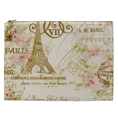 Floral Eiffel Tower Vintage French Paris Art Cosmetic Bag (XXL)