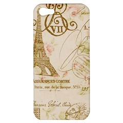 Floral Eiffel Tower Vintage French Paris Art Apple iPhone 5 Hardshell Case