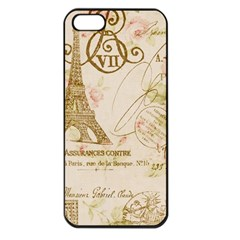 Floral Eiffel Tower Vintage French Paris Art Apple iPhone 5 Seamless Case (Black)