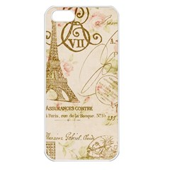 Floral Eiffel Tower Vintage French Paris Art Apple iPhone 5 Seamless Case (White)