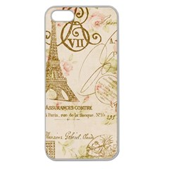 Floral Eiffel Tower Vintage French Paris Art Apple Seamless Iphone 5 Case (clear)