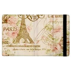 Floral Eiffel Tower Vintage French Paris Art Apple iPad 2 Flip Case