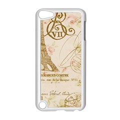 Floral Eiffel Tower Vintage French Paris Art Apple iPod Touch 5 Case (White)