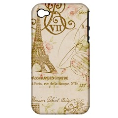 Floral Eiffel Tower Vintage French Paris Art Apple Iphone 4/4s Hardshell Case (pc+silicone)