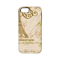 Floral Eiffel Tower Vintage French Paris Art Apple Iphone 5 Classic Hardshell Case (pc+silicone)