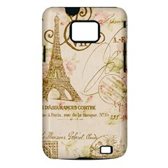 Floral Eiffel Tower Vintage French Paris Art Samsung Galaxy S II Hardshell Case (PC+Silicone)
