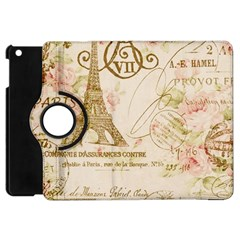 Floral Eiffel Tower Vintage French Paris Art Apple iPad Mini Flip 360 Case