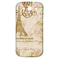 Floral Eiffel Tower Vintage French Paris Art Samsung Galaxy S3 S III Classic Hardshell Back Case