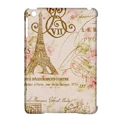 Floral Eiffel Tower Vintage French Paris Art Apple Ipad Mini Hardshell Case (compatible With Smart Cover)