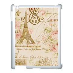 Floral Eiffel Tower Vintage French Paris Art Apple iPad 3/4 Case (White)