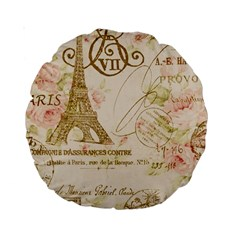 Floral Eiffel Tower Vintage French Paris Art 15  Premium Round Cushion