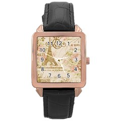 Floral Eiffel Tower Vintage French Paris Art Rose Gold Leather Watch