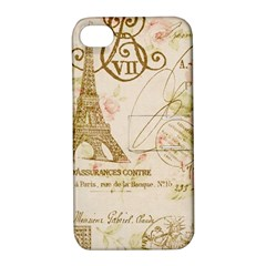 Floral Eiffel Tower Vintage French Paris Art Apple Iphone 4/4s Hardshell Case With Stand