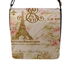 Floral Eiffel Tower Vintage French Paris Art Flap Closure Messenger Bag (large)