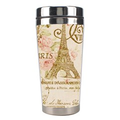 Floral Eiffel Tower Vintage French Paris Art Stainless Steel Travel Tumbler