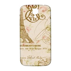 Floral Eiffel Tower Vintage French Paris Art Samsung Galaxy S4 I9500/i9505  Hardshell Back Case