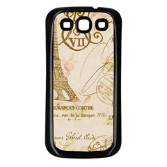 Floral Eiffel Tower Vintage French Paris Art Samsung Galaxy S3 Back Case (Black)
