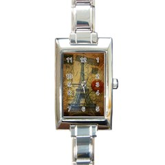 Vintage Stamps Postage Poppy Flower Floral Eiffel Tower Vintage Paris Rectangular Italian Charm Watch