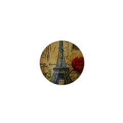 Vintage Stamps Postage Poppy Flower Floral Eiffel Tower Vintage Paris 1  Mini Button