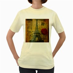Vintage Stamps Postage Poppy Flower Floral Eiffel Tower Vintage Paris  Womens  T Shirt (yellow)