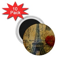 Vintage Stamps Postage Poppy Flower Floral Eiffel Tower Vintage Paris 1.75  Button Magnet (10 pack)