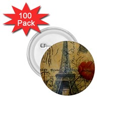 Vintage Stamps Postage Poppy Flower Floral Eiffel Tower Vintage Paris 1.75  Button (100 pack)