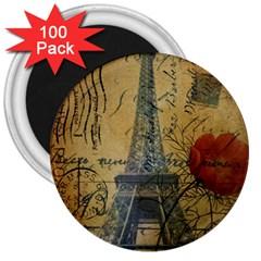 Vintage Stamps Postage Poppy Flower Floral Eiffel Tower Vintage Paris 3  Button Magnet (100 Pack)