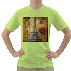 Vintage Stamps Postage Poppy Flower Floral Eiffel Tower Vintage Paris Mens  T-shirt (Green)