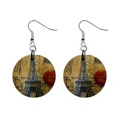 Vintage Stamps Postage Poppy Flower Floral Eiffel Tower Vintage Paris Mini Button Earrings