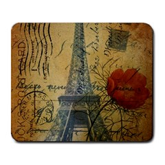 Vintage Stamps Postage Poppy Flower Floral Eiffel Tower Vintage Paris Large Mouse Pad (rectangle)