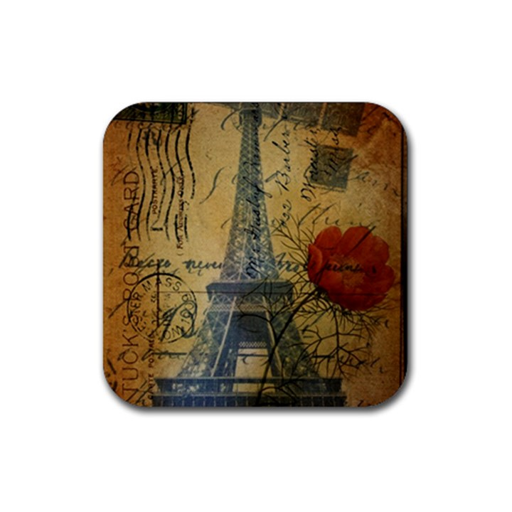 Vintage Stamps Postage Poppy Flower Floral Eiffel Tower Vintage Paris Drink Coaster (Square)