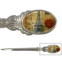 Vintage Stamps Postage Poppy Flower Floral Eiffel Tower Vintage Paris Letter Opener