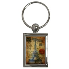 Vintage Stamps Postage Poppy Flower Floral Eiffel Tower Vintage Paris Key Chain (Rectangle)