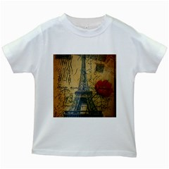 Vintage Stamps Postage Poppy Flower Floral Eiffel Tower Vintage Paris Kids' T-shirt (White)
