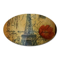 Vintage Stamps Postage Poppy Flower Floral Eiffel Tower Vintage Paris Magnet (oval)
