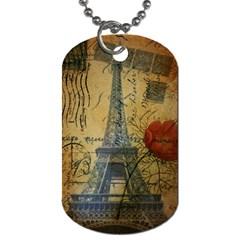 Vintage Stamps Postage Poppy Flower Floral Eiffel Tower Vintage Paris Dog Tag (One Sided)