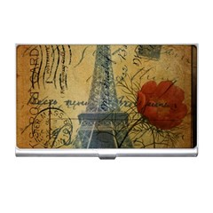 Vintage Stamps Postage Poppy Flower Floral Eiffel Tower Vintage Paris Business Card Holder