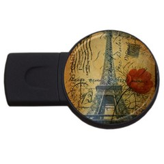 Vintage Stamps Postage Poppy Flower Floral Eiffel Tower Vintage Paris 1GB USB Flash Drive (Round)