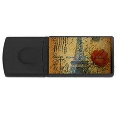 Vintage Stamps Postage Poppy Flower Floral Eiffel Tower Vintage Paris 2GB USB Flash Drive (Rectangle)