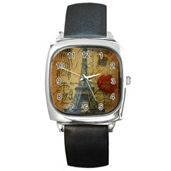 Vintage Stamps Postage Poppy Flower Floral Eiffel Tower Vintage Paris Square Leather Watch