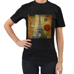 Vintage Stamps Postage Poppy Flower Floral Eiffel Tower Vintage Paris Womens' Two Sided T-shirt (Black)